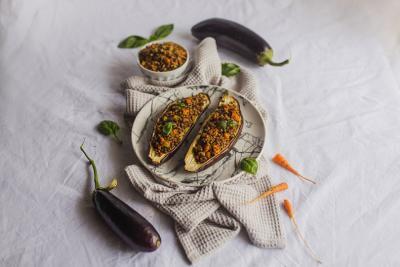 Eggplants stuffed with buckwheat